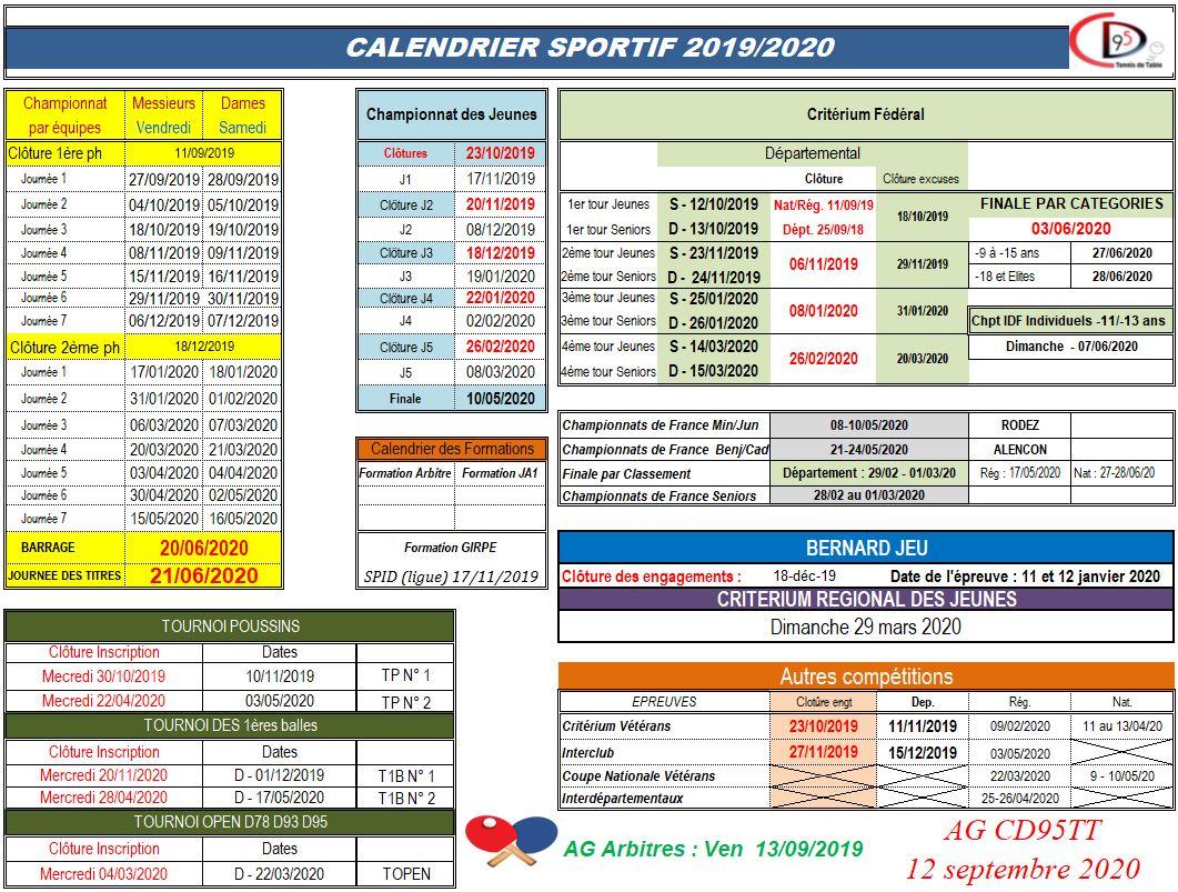 Calendrier Saison 2020.Principales Dates De La Saison 2019 2020